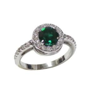 Золотое кольцо с бриллиантами и изумрудом - Ю31745