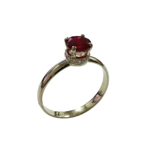 Золотое кольцо с бриллиантами и рубином - Ю32755