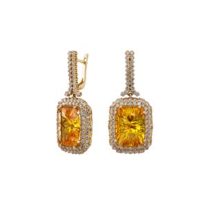 Золотые серьги с бриллиантами и цитрином - Ю27560
