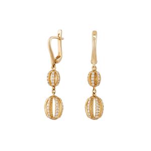 Золотые серьги с бриллиантами - Ю29440