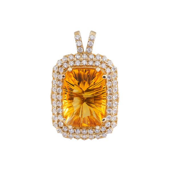 Золотая подвеска с бриллиантами и цитрином - Ю27559