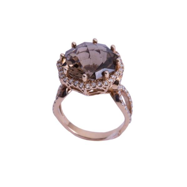 Золотое кольцо с бриллиантами и раухтопазом - Ю27903