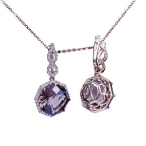 Золотые серьги с бриллиантами и раухтопазами - Ю27932