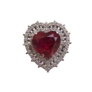 Кольцо с бриллиантами и рубином - Ф35572