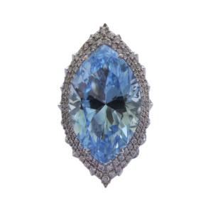 Золотое кольцо с бриллиантами и топазом - Ф35571