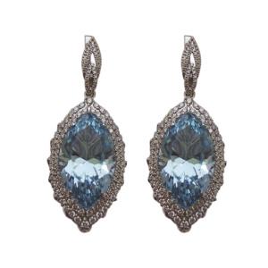 Золотые серьги с бриллиантами и топазами - Ф35576
