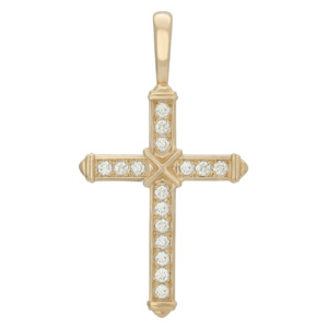Золотой крестик с бриллиантами — Ю23134